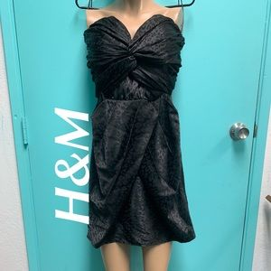 NWT H&M BLACK LEOPARD STRAPLESS MINI DRESS SIZE 12
